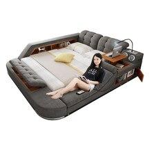 Tecido de couro multifuncional massagem cama quadro nordic camas cama final led luz bluetooth alto-falante seguro rádio notepad placa