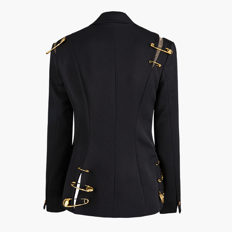 Elegant Women's Blazer Notched Hollow Out Patchwork Lace Up Long Sleeve Slim Blazer Female 2019 Fashion New