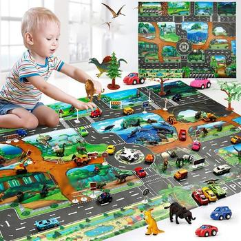 City Traffic Baby Crawling mat Climbing Pad Road Carpet Playmat Rug For Cars English City Parking Lot Map Play Carpet for Baby image