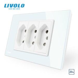 Image 2 - Livolo Brazilia Standard 3Pins 10A/20A socket type N plugs ,3pin hole wall power socket , Glass panel