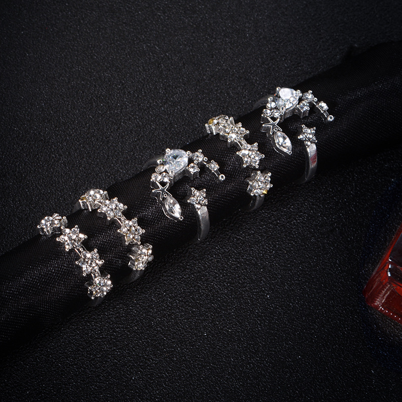 5 piece set bohemian retro female ring alloy moon crystal star punk personality ring wedding engagement ring Free postage in Rings from Jewelry Accessories