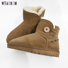 Brand women real sheep fur leather sheepskin Boots Button  Winter Wool Snow Boots Flat Non-Slip Sheep lady Sheepskin boots 2018 australia style women genuine sheep leather and real fur boots winter women snow boots two diamond bows winter boots