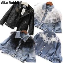92019 New Fashion Autumn Denim Jacket The Wind PU Leather Leather Coat