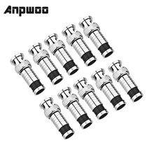 Anpwoo 10 pçs/lote sistema de segurança bnc conector de compressão jack para cabo coaxial rg59 cctv câmera acessórios