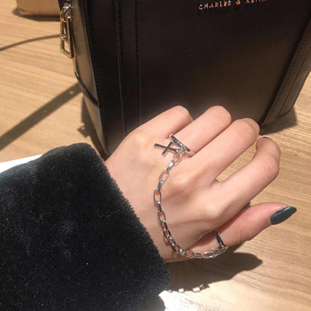 Prata cor chapeado retro punk hip-hop cruz anel mão dedo corrente ajustável anéis jóias presente