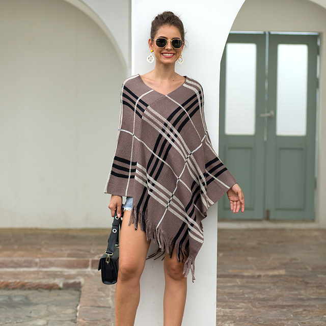 2020 Autumn Winter European American Fringed Shawl Cloak Diagonal Stripe Pullover V-neck Ladies Sweater Poncho Women's Clothing 4
