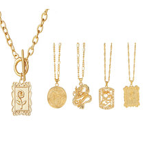 Ожерелье с золотым Драконом для женщин/мужчин модный винтажный