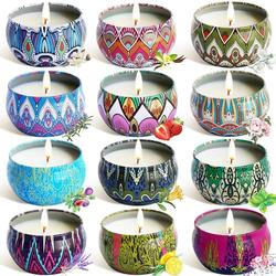 8/12Pcs/Set Soy Wax Scented Candles Ethnic Style Fragrance Candles for Travel Home Wedding Birthday Party Decoration