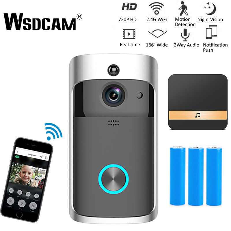 Wsdcam Smart Doorbell Camera Wifi Wireless Call Intercom Video-Eye for Apartments Door Bell Ring for Phone Home Security Cameras image