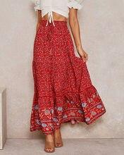Vintage Chic długie spódnice kobiety kwiatowy Print plaża spódnica w stylu Boho lato wysoki w pasie Rayon bawełna Boho Maxi spódnice Femme