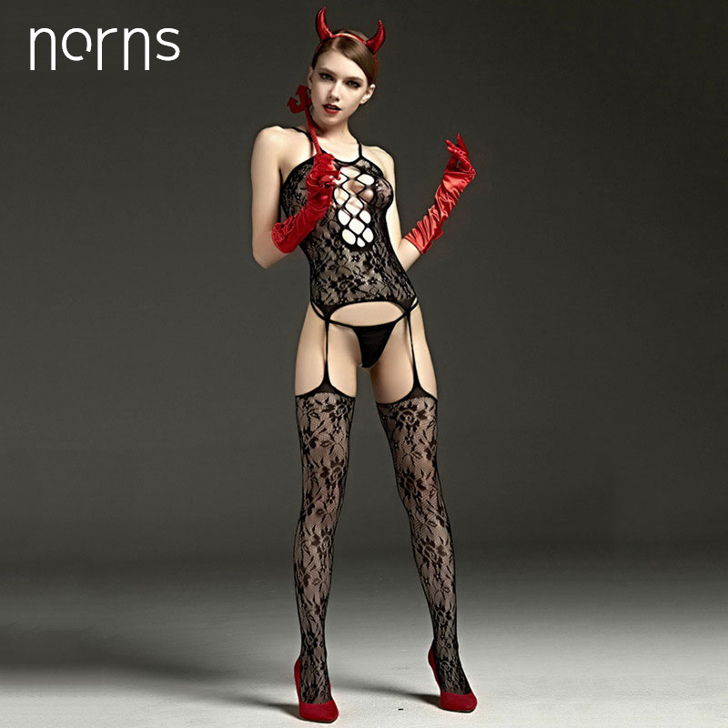 Norns Women Hot Sexy Lingerie Costumes Underwear Woman Sex Product Dolls Lingerie Porn Babydoll Chemise Black Hollow Out Clothes