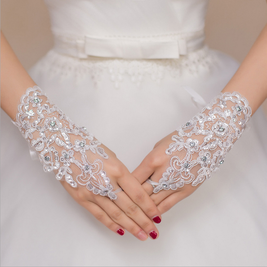 Bridal Wedding Rhinestone Short Paragraph Lace Fingerless Gloves