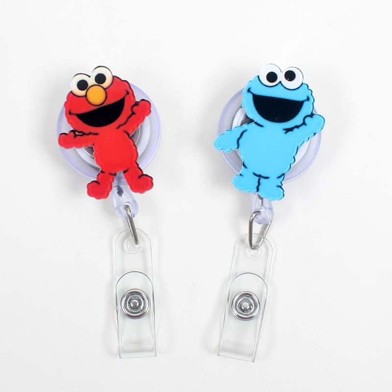 Creative Red & Blue Boy Acrylic Retractable Badge Reel Nurse Doctor Student Exhibition ID Card Clips Badge Holder Stationery
