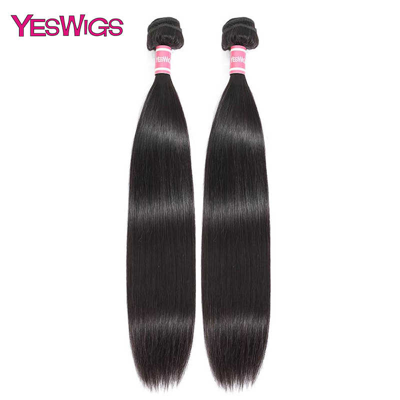 Yeswigs 28 inch Straight Hair Bundles Brazilian Hair Weave Bundles One Double Drawn Remy Human Hair Extension 3 Bundle Deals