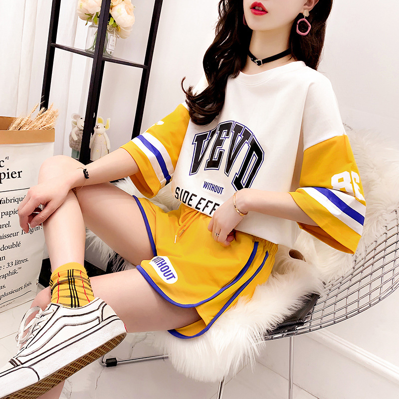 Summer Wear New Style Sporty T-shirt Shorts Set Women's Tennis Hong Yang Gas Students By Age Half Sleeve Tops Two-Piece Set Summ