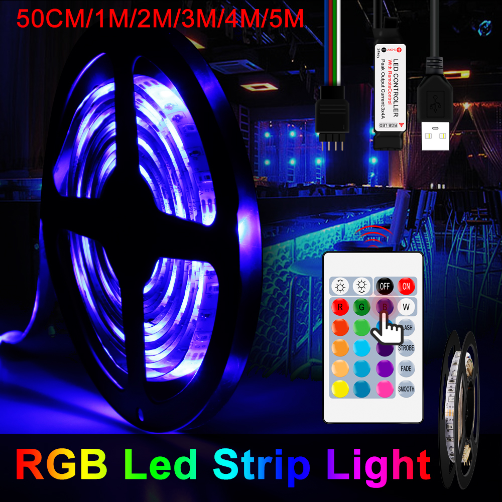 5M USB Light Strip RGB Neon Light 2835SMD 5V RGB Led Strip RGBW TV Backlight Lighting 0.5M 1M 2M 3M 4M 5M Bande LED Lamp Tape