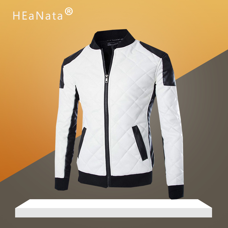 Black White Patchwork Leather Jacket Men Winter Autumn 2019 Fashion Motorcycle Bike Brand Men's Jacket Thick Coats Outerwear image