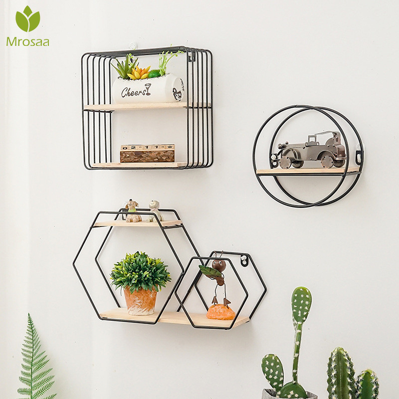New Wooden Gold Storage Racks Hanging Decor Storage Box Flower Pot House Storage Rack Wall Book Figurines Display Crafts Shelves|Decorative Shelves| |  - title=