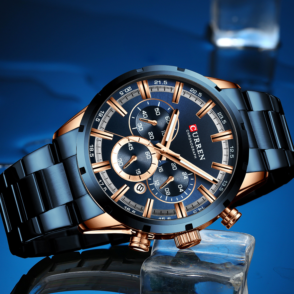 Image 2 - Relogio Masculino CURREN Business Men Watch Luxury Brand Stainless Steel Wrist Watch Chronograph Army Military Quartz Watches-in Quartz Watches from Watches