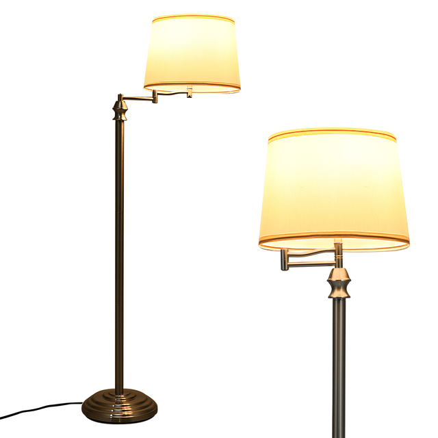 Costway Swing Arm LED Floor Lamp Classic Lamp w/Hanging Fabric Lamp shade Bedroom Office