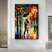 Abstract Couple Kissing Holding Umbrella In The Rain Canvas Painting Print Poster Wall Art Pictures for Home Living Room