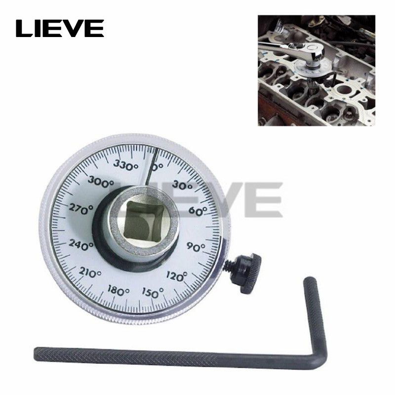 Torque Angle Ruler Protractor 360 Degree 1/2 Inch Drive Meter Auto Angle Rotation Measure Tool With Wrench Angle Measurment