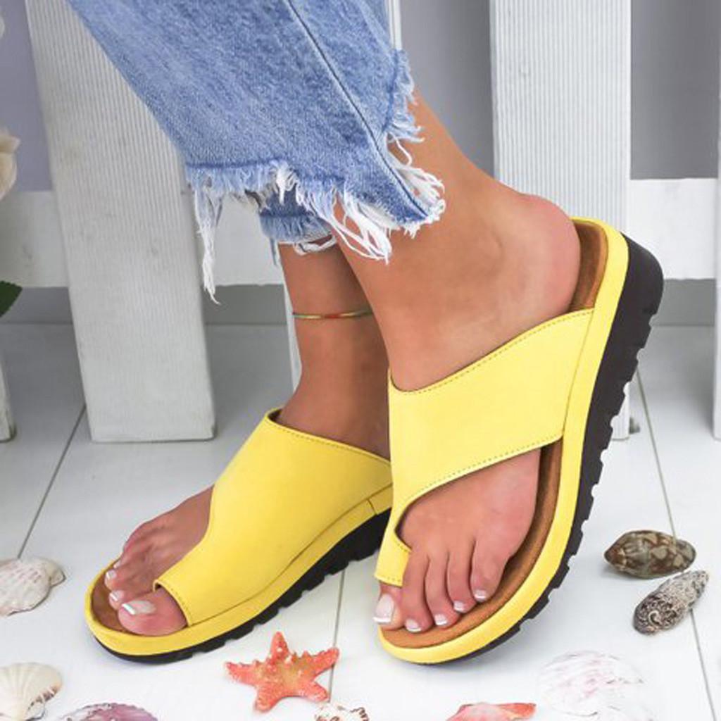 Women's Sandals 2020 New Female Shoes Comfy Platform Flat Sole Orthopedic Bunion Corrector Plus Size 35-43 Casual Shoes Woman