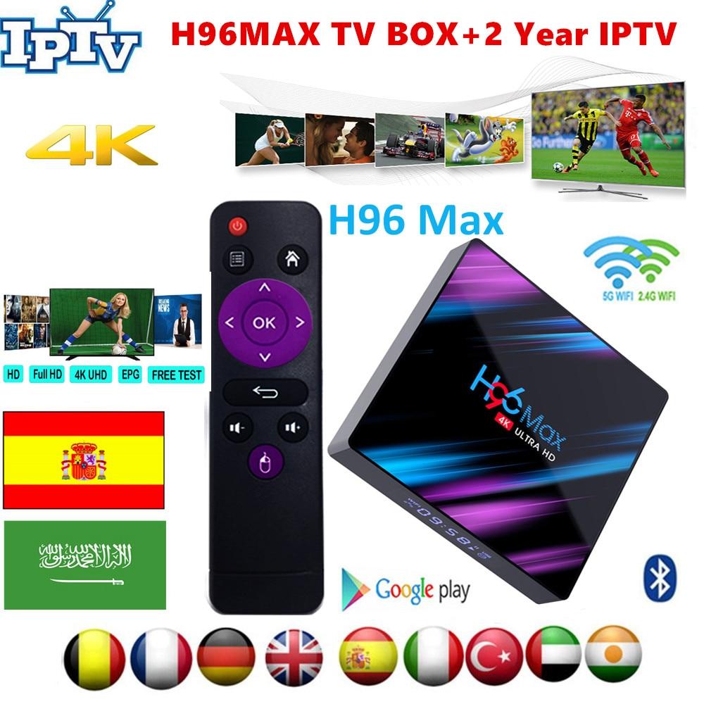 H96 MAX Smart IPTV Box Android 9.0 Wireless Spain Portugal Belgium Arabic Netherlands Belgium Italy UK IPTV Android TV Box