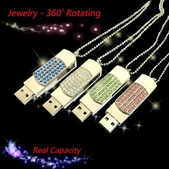 Swivel Fashion Crystal Cle USB Flash Drive 1TB 2TB Necklace Gift Jewelry Pendrive 8GB 16GB 32GB USB Key 3.0 Pen Drive 64GB 128GB