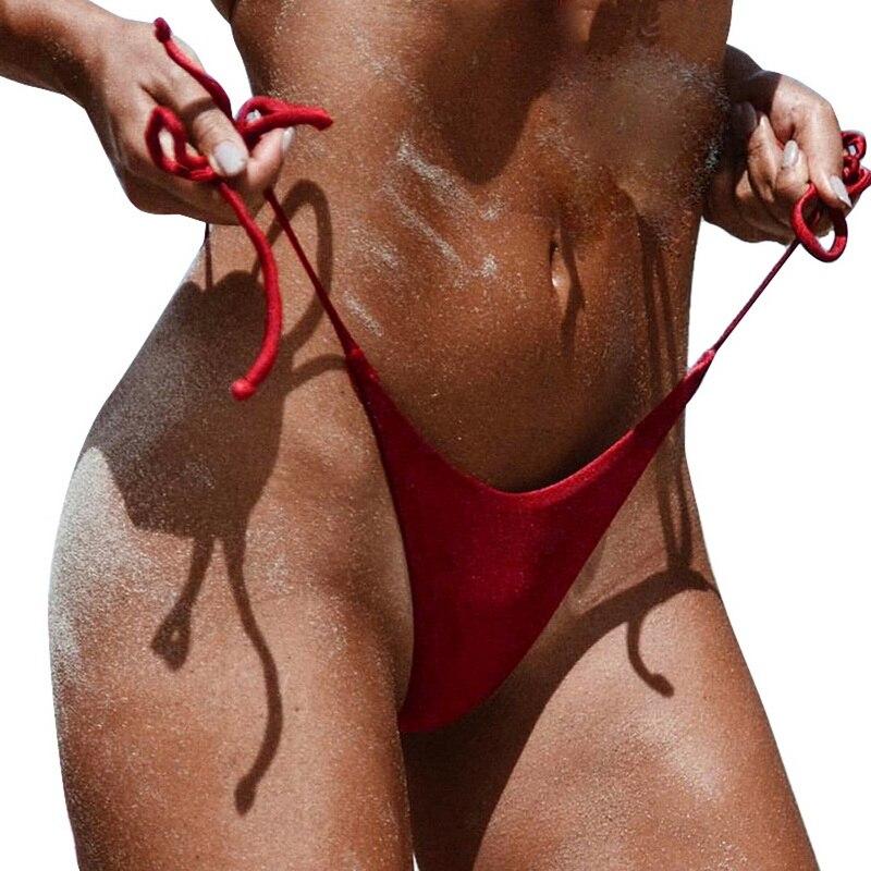 2019 Sexy Thong Women's Solid Bikini Bottoms G-string Swim Shorts Bikini Tanga Push Up Hipster Knitted Bathing Bikini Bottoms