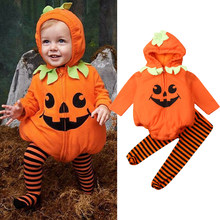 Newborn Baby Girl Boy Clothes Sets Halloween Pumpkin Costume Romper Striped Long Pant Cosplay Outfit(China)