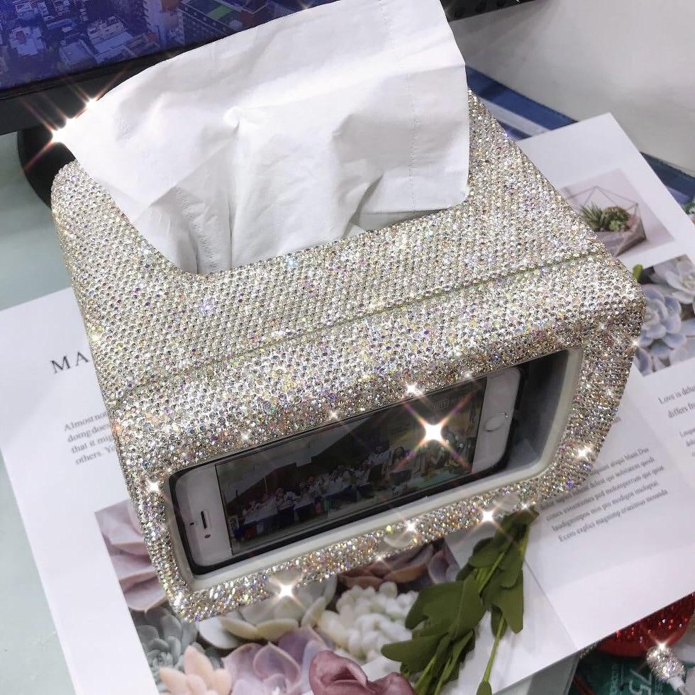 2pcs Home Car Bling Bling Acrylic Tissue Holder Box Napkin Cover Dispenser