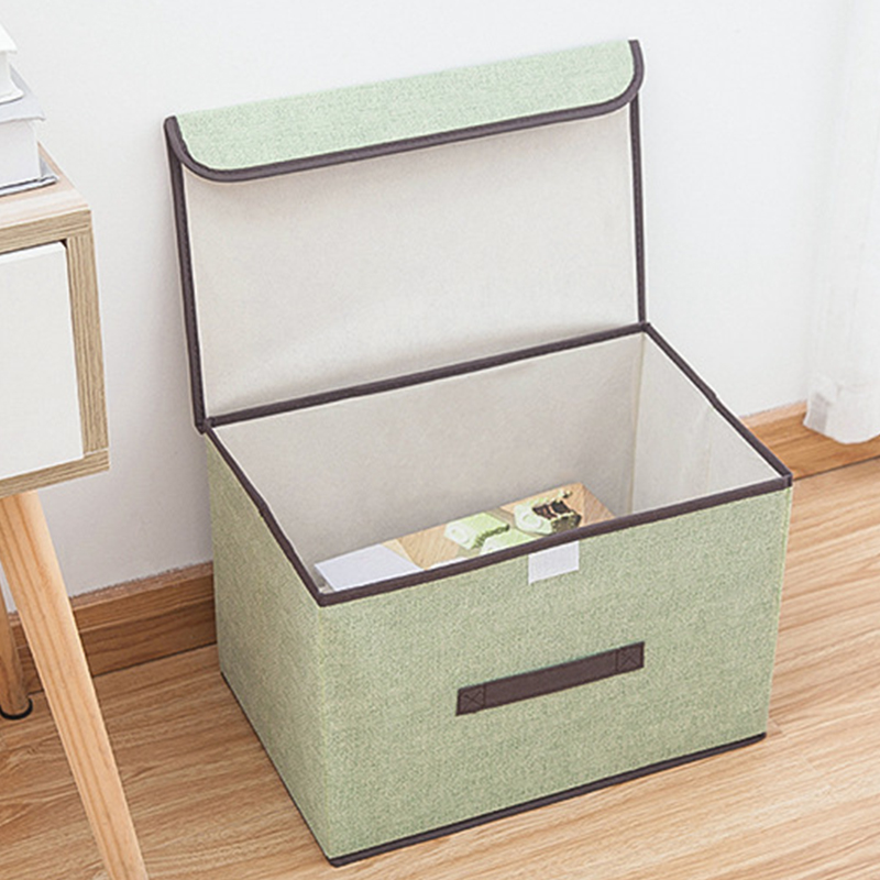 No Smell Polyester Fabric Storage Boxes with Lids Clear Storage Baskets Containers Bins With Double Cover Organizer