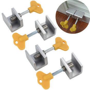 40^4 Pcs Adjustable Sliding Window Locks Stop Aluminum Alloy Door Frame Security Lock with Keys Home Office Safety window Lock image
