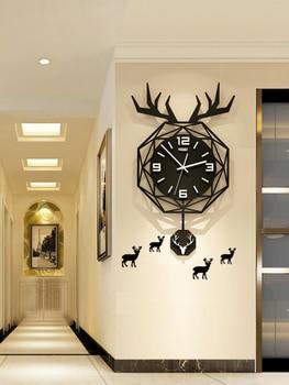 Vintage Wall Clock Nordic Pendulum Deer Creative Large Kitchen Vogue Wall Clock Acrylic Mirror Klok Single Hand Watch YY60WC