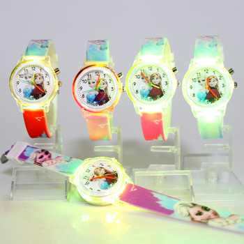 Disney Frozen Princess Elsa Children Watches Colorful Light Source Watch Girls Kids Party Gift Clock Wrist Relogio Feminino relogio new cartoon leather quartz watch children watch orologi princess elsa anna watches boy girl gift clock relojes zegarki