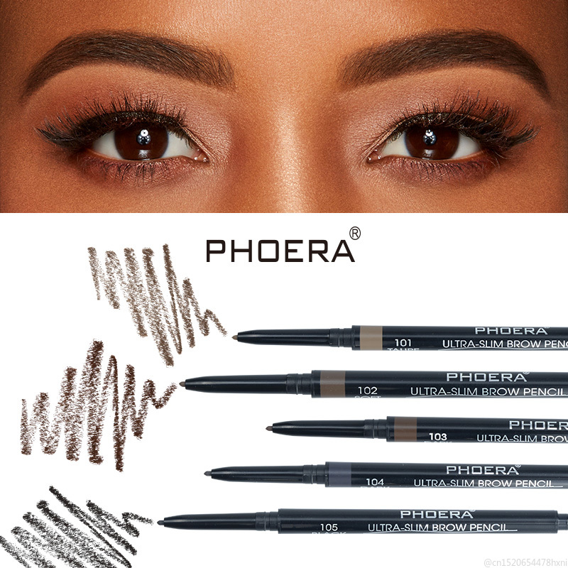 PHOERA 2in1 Eyebrow Pencil with Brush Double Ended Brown Microblad Brow Pen Lasting Waterproof Eyebrows Makeup TSLM2(China)