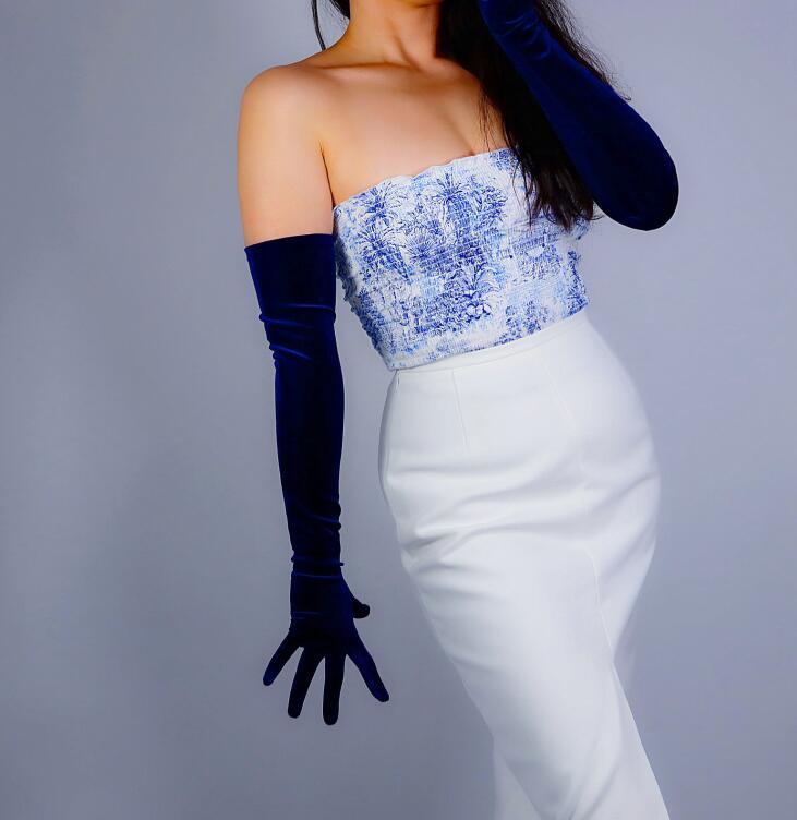 Women's Elegant Elastic Velvet Long Gloves Female Dark Blue Color Pleuche Party Driving Glove 60cm R2758