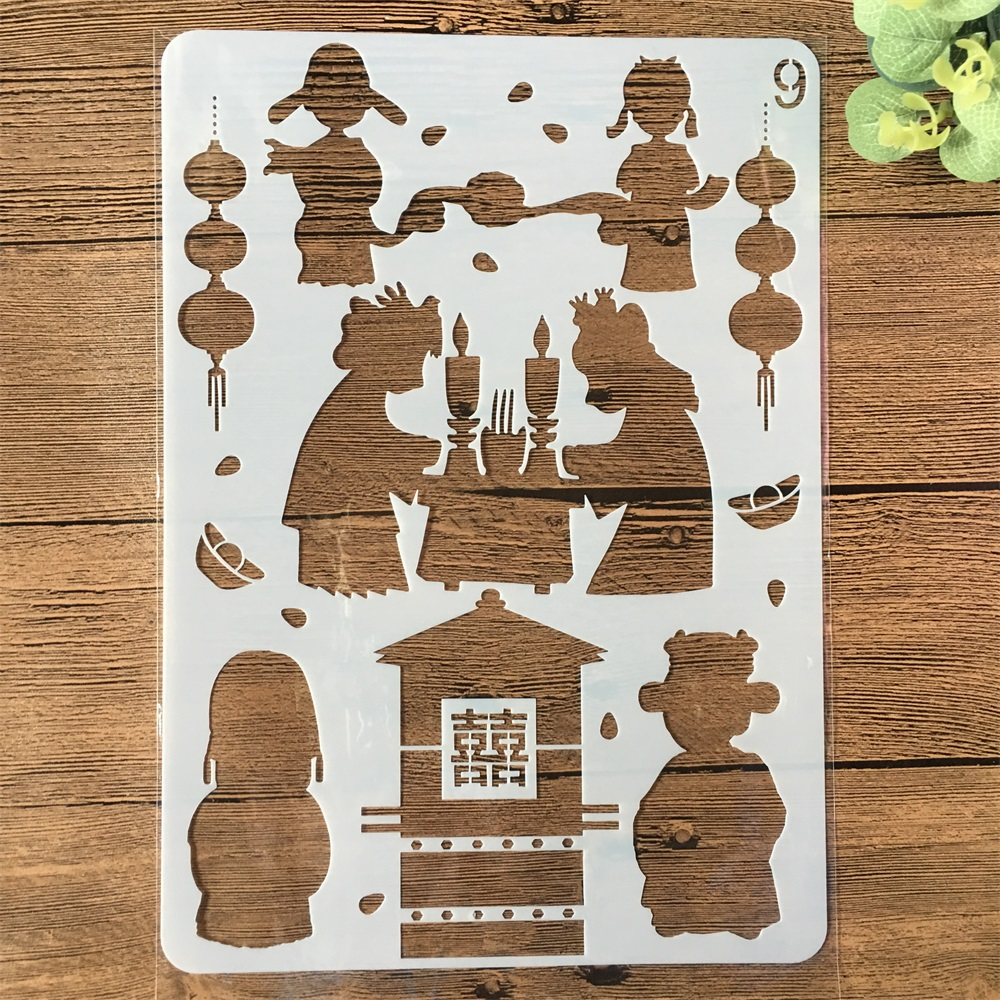 A4 Chinese Traditional Wedding Bride DIY Craft Layering Stencils Painting Scrapbooking Stamping Embossing Album Template
