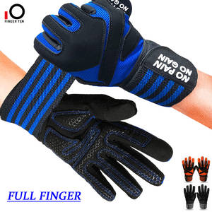 New Upgrade Anti-Slip Grip Full Finger Weight Lifting Gloves with Wrist Wraps Support for Exercise Weightlifting Hanging Biking