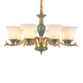 American full copper light luxury living room chandelier dining room bedroom glass pendant lamps