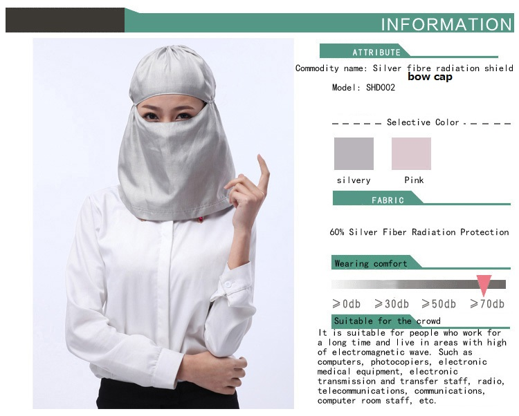 Genuine INSAHO Network Radiation Resistant Silver Fiber Mask, Computer Radiation Protection Bow Cap For Pregnant Women,SHD022.
