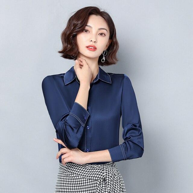 New Women Satin Silk Shirt Spring Autumn Long Sleeve Lapel Collar Office Ladies Work Shirt Women Blouse Casual Elegant Basic Top 5