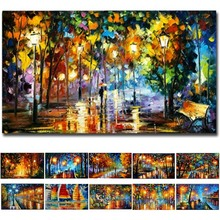 2020 Coloring Poster Hand   Painted Oil Painting Landscape For The Living Room Wall Art Home Decoration Abstract Without Frame