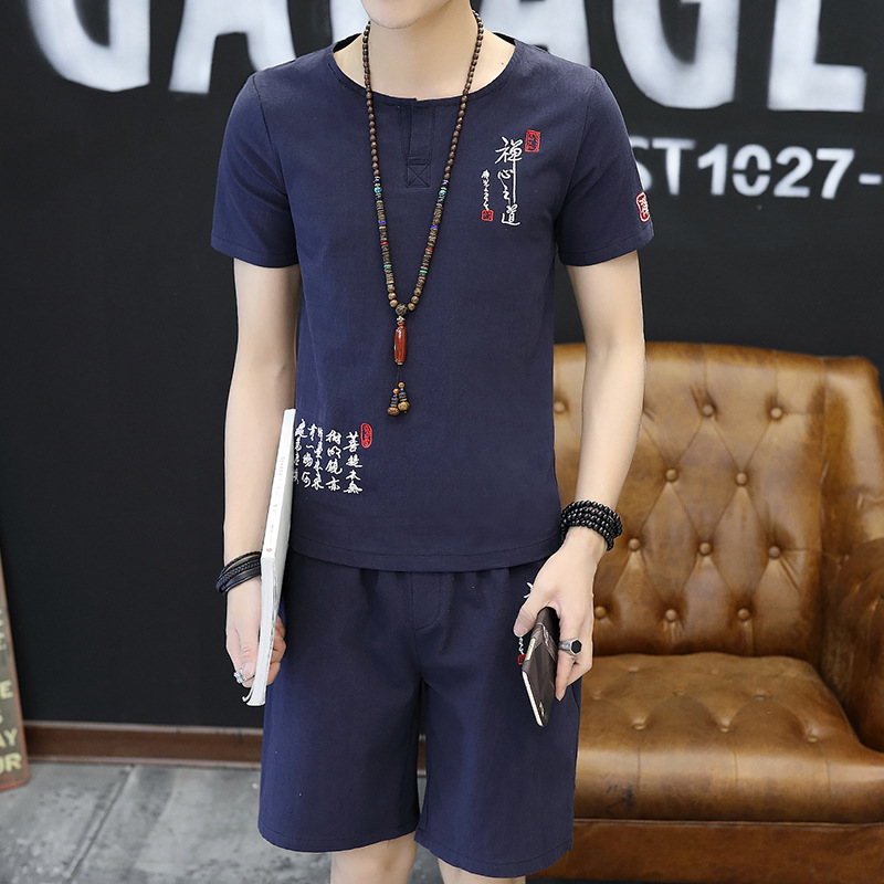 Summer Men Leisure Set Two-Piece Set Korean-style Trend Men'S Wear Clothes Large Size New Style V-neck Flax Short Sleeve T-shirt