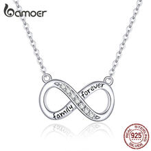 bamoer Infinity Love Family Forever Short Chain Necklace for Women Clear CZ 925 Sterling Silver Fashion Jewlery SCN352(China)
