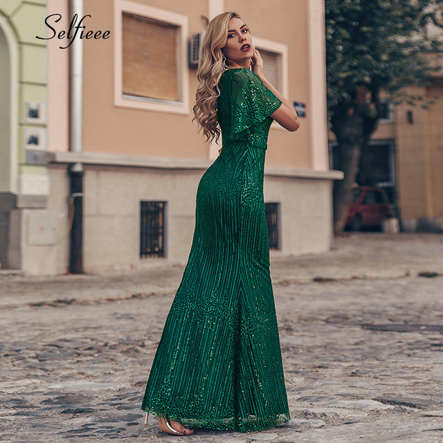 Sexy Sequined Maix Dress For Women Short Sleeve V-Neck Bodycon Evening Party Dress Elegant Long Ladies Dress Robe Femme 2020