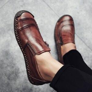 Image 4 - Nowe ręcznie robione męskie skórzane buty oddychające buty na co dzień mężczyźni antypoślizgowe mokasyny jazdy obuwie Chaussure Homme Cuir Plus Size38 48