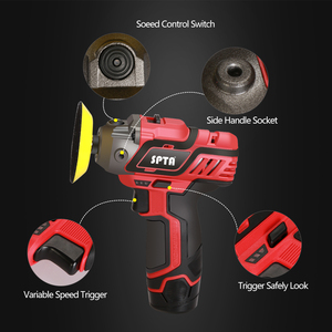 Image 3 - SPTA 12V Cordless Car Polisher Tool Sets,Cordless Drill Driver Variable Speed Polisher,1500mAh Li ion Battery with Fast Charger