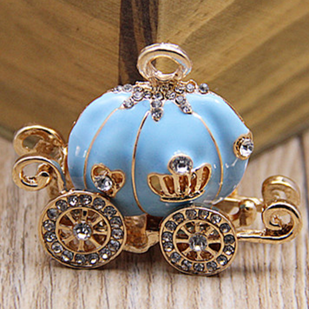 Fashionable Special Porte Clef Gift Fairy Tale Cinderella Alloy Pumpkin Carriage Crystal Keyring Bag Pendant Keychain